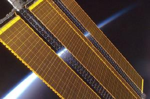 Solar panels on the International Space Station.