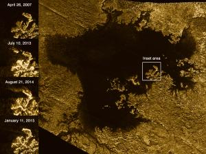 Radar images of Titan show island features that disappear.