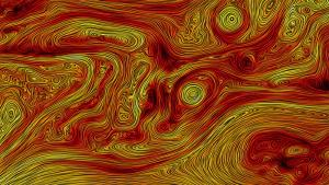 Visualization of magnetic field turbulence in the solar wind.