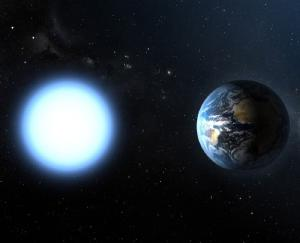A white dwarf star compared to Earth.