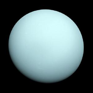 A visible light image of Uranus by Voyager 2 shows almost no features.