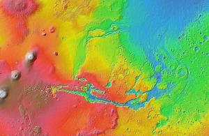 A topographic map of Valles Marineris.