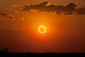 The ring of fire seen during an annular eclipse.