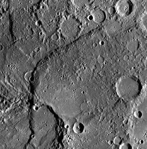 Image of a scarp crossing craters.