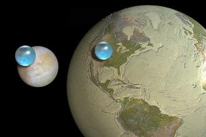 Water on Europa and Earth compared.