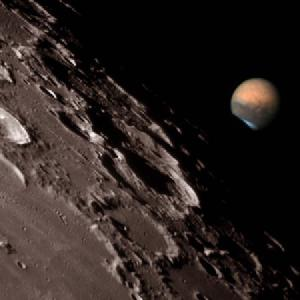 The 2008 Lunar occultation of Mars gives a better comparison of their relative sizes in the sky.