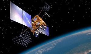 Artist's impression of a GPS-IIRM satellite in orbit.