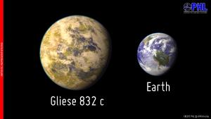 Artistic representation of the potentially habitable exoplanet Gliese 832 c as compared with Earth.