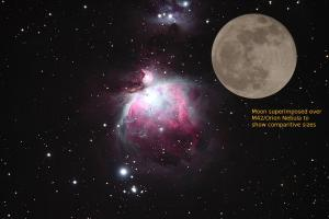 Size of the Orion Nebula compared to the Moon.