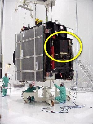 The Rosetta spacecraft under construction. Philae is circled.