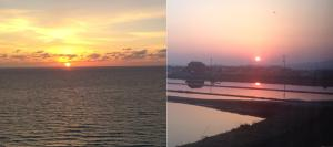 Sunrise and sunset at the same time.