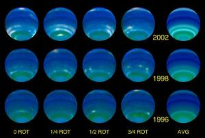 Hubble images showing the seasons of Neptune.