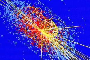 Computer simulation of a Higgs interaction.