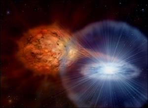 An artist's impression depicts a nova outburst similar to the RS Ophiuchi system.