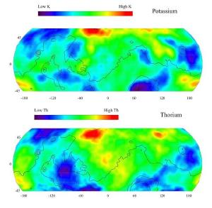 Maps of thorium and potassium concentrations on Mars.