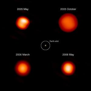 Mira varies in size and brightness over time.